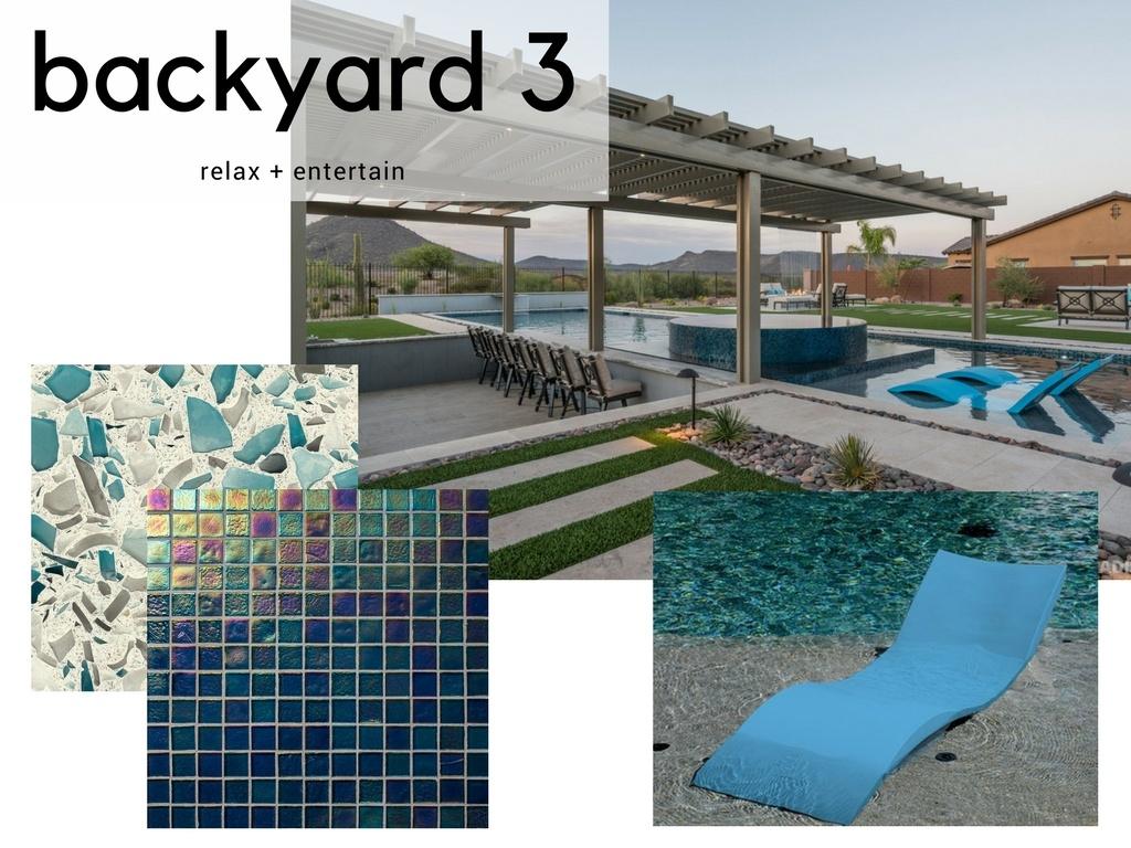 Traditional Blue Backyard Pool Design