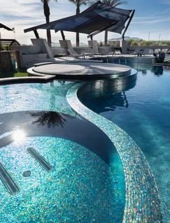 iridescent-glass, pool-tile, blue-pool-tile, pool-design, landscape-design, pool-design-ideas, pool-tile-ideas, exterior-design, landscape-architecture, glass-tile, alpentile, michael-woodall-photography, oceanside-glasstile