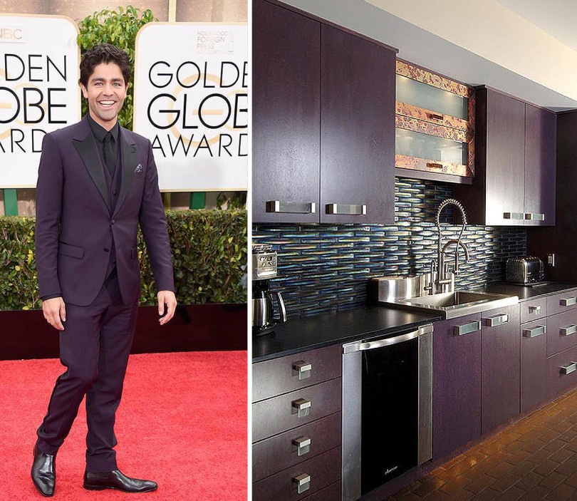 Adrian Genleer from Entourage showing a little swag in his deep plum suit. We thought this kitchen was the perfect amount of edge with our dimensional field tile in Rainbow Iridescent.