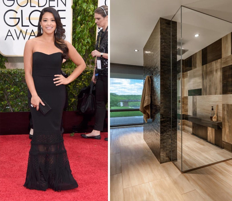 Golden Globe winner Gina Rodriguez looks super chic in her Badgley Mishka Gown. It made perfect sense that she has the same down-to-earth, yet beautiful bathroom space. Shower wall dons Walker Zanger Weave in Pewter iridescent.