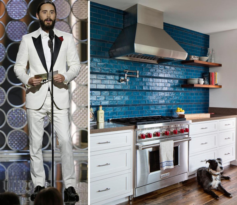"""Jared Leto makes a statement in his white tux, and so why not bring that bold statement home? Shown in the Kitchen Bold Bondi in 2.5""""x5"""" field and 1.25"""" x 10"""" Field."""