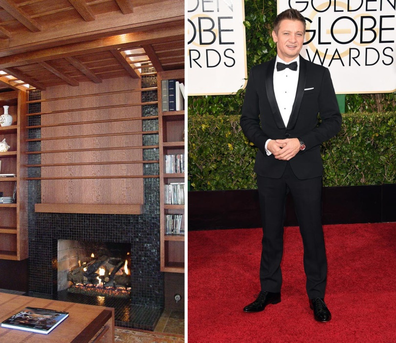 """Jeremy Renner shows off his perfectly fitted traditional tux. We couldn't help but pair him with this perfectly masculine living room designed by Flock Architecture using Tessera's 1"""" x 1"""" mosaic in Black Non-Iridescent"""