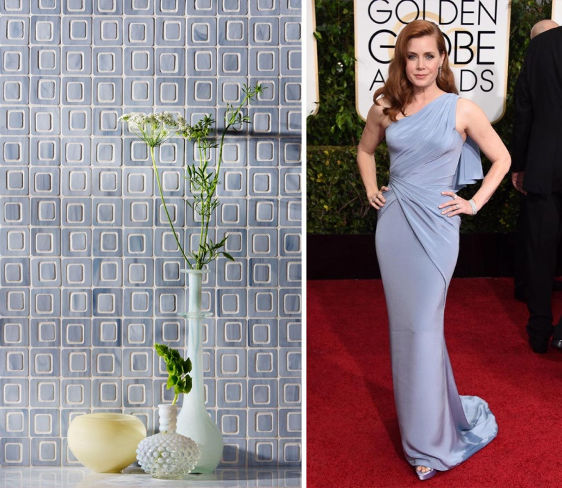Amy Adams dons Versace in a soft lilac. We imagined her perfect tile would be Devotion's Polaroid pattern in the color Light Smoke.