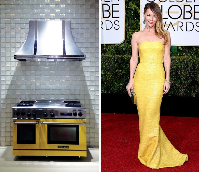 Yellow is anything but mellow when it comes to  Leslie Mann's Kaufman Franco gown. Why not make your red carpet statement in your home with a range from PIRCH and a stunning backdrop of Lune dimensional field tile in Oxygen Iridescent.