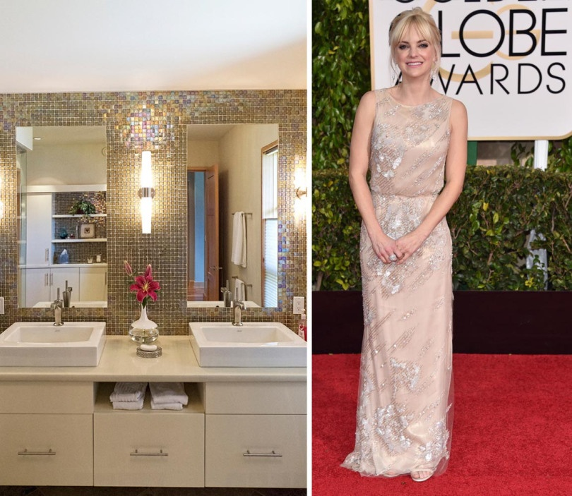 Anna Faris looking angelic in this beautiful cream Reem Acra gown. Inspiration struck us with this glittering Vanity in Tessera's 1x1 mosaic in the color Cane Iridescent.
