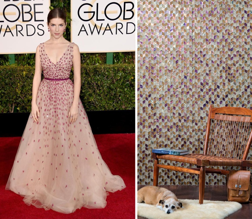 We're swooning over Anna Kendrick's Monique Lhuilleir gown. We imagine her perfect tile would  be a beautiful combination of golds and purples in our Tessera pattern Perspectives. (Blend: Coppertone)