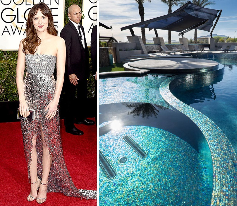We simply couldn't resist that glitz that Dakota Johnson chose with her Chanel gown. The perfect pairing? The Red Rock Pool project that was done with over 200,000 pieces of sparkling Tessera mosaics.