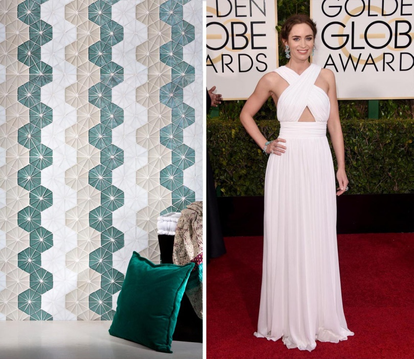 Emily Blunt in understated elegance by Michael Kohrs. We thought this stunning space using Kaleidoscope tile would be the perfect space for her to stay centered.