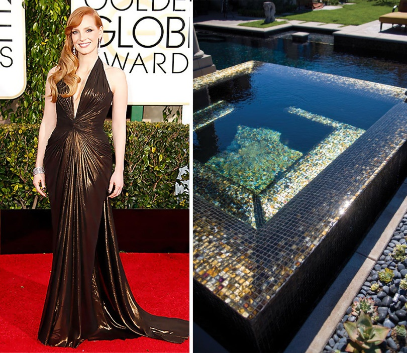 Jessica Chastain takes our breath away in this beautifully gathered gown by Versace. We imagine she would be soaking in the sun in a pool slathered in Tessera 1x1 using the Moroccan Desert blend.