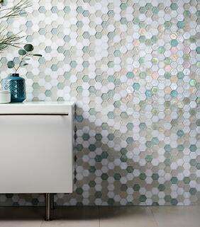 hexagon-tile, hexagon-mosaic, glass-tile, glass-tile-design, custom-glass-tile, hand-crafted-glass-tile, white-glass-tile, blue-glass-tile, interior-design, interior-designer, home-decor, wall-tile, Oceanside-Glasstile