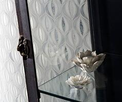 New Lotus Pattern showcasing the colors Bright White, Rain Cloud and Antique Mirror - Lustre.