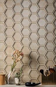 glass tile, hexagon tile, vanity tile, sustainable tile, home decor, interior design, fashion, bathroom, lifestyle vignette