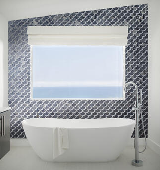 scallop-tile, blue-tile, antique-mirror-tile, bathroom-tile, bathroom-design-ideas, small-bathroom-design-ideas, standing-tub, ocean-view, oceanside-glasstile