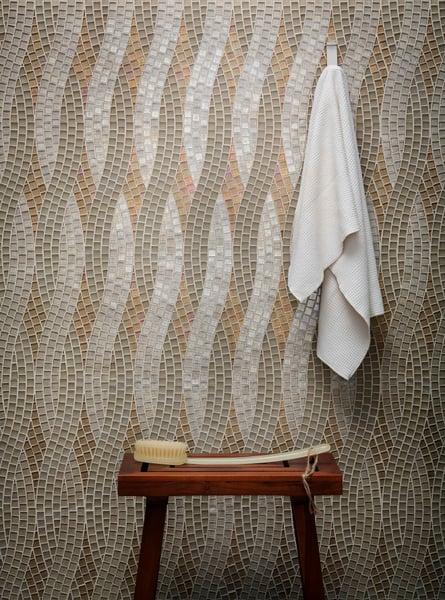 glass tile, tile, interior design, tozen tile,, feature wall, backsplash tile, hexagon tile, Agate tile, Martini glass tile, dimensional tile, bathroom tile, kitchen tile, home remodel, design, home decor, Lunada Bay Tile