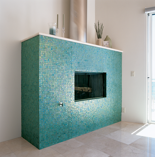 Tessera 1x1 in Tropical Reef brings a beautiful hue to this room.