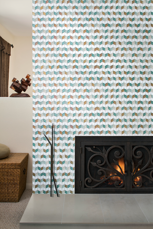 Beautiful color combinations are achieved using the Oceanside Glasstile Blend tool. Shown here is our perspectives pattern in a custom placement.