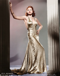 Rita Hayworth, vintage, fashion, classic beauty, gold dress, old hollywood