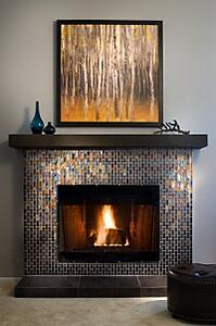 fireplace, glasstile, tile, gold tile, warm embers, holiday decor, hearth,